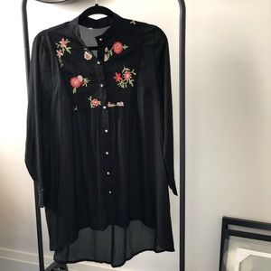 Black Long Shirt with Embroidered Florals